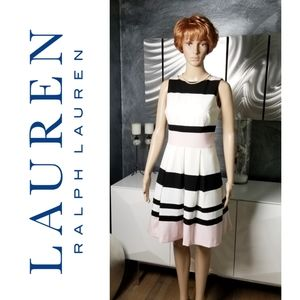 LAUREN RALPH LAUREN FIT & FLARE COLORBLOCKED DRESS